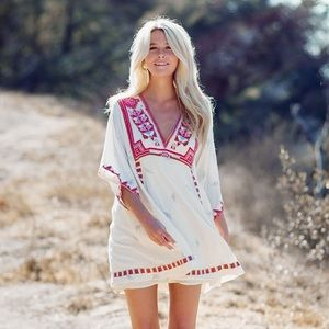 Free People Tulum cream embroidered tunic dress
